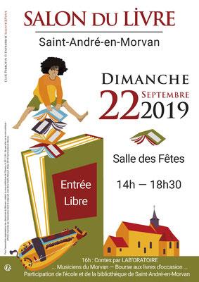 Affiche en vectoriel par Cloé Perrotin pour le Salon du Livre de Saint-André-en-Morvan 2019 saute-mouton et livres