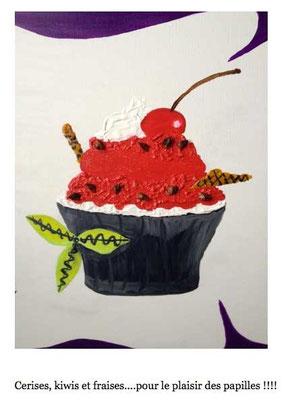 Détail du cupcake cerise illustré en exclusivité par Cloé Perrotin reprit en peinture par Peggy Jeannot