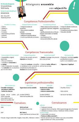 Cv bilan de compétences - 2014 _ Nouvel emploi 1 mois plus tard _ Mots clefs : homme, dynamisme et objectifs, jaune, bordeaux et bleu sarcelle _ Technique : Illustrator