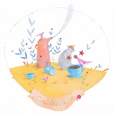 Cabochon sur fond blanc sur le thème du cadeau et de l'amitié par l'illustratrice Eleonora De Pieri