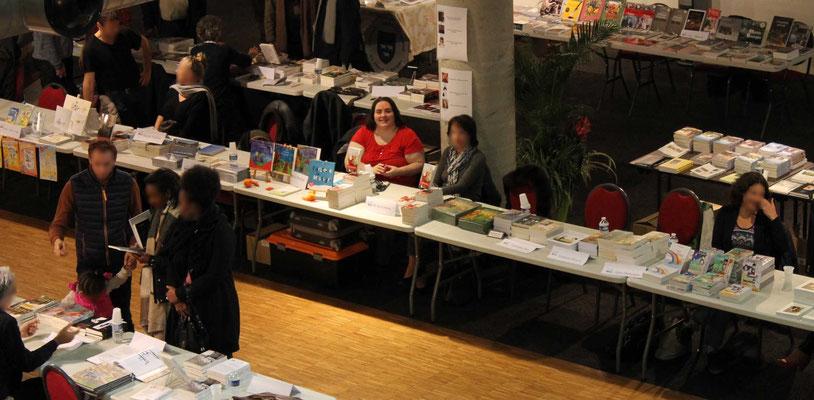 Le stand de Cloé Perrotin l'illustratrice vue d'en haut au Salon du Livre de Vierzon en 2017