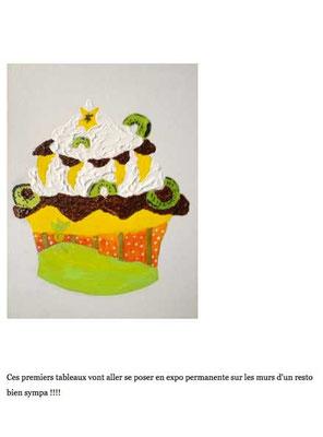 Détail du cupcake kiwi illustré en exclusivité par Cloé Perrotin reprit en peinture par Peggy Jeannot
