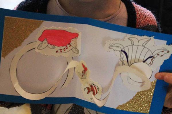 Exemple 5 de carte pop-up spirale réalisée à l'atelier de l'illustratrice Cloé Perrotin lors d'un Salon du Livre en 2018