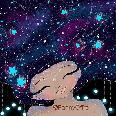 Illustration de Fanny Offre d'une fille aux cheveux de la galaxie pour l'interview sur le site de Cloé Perrotin