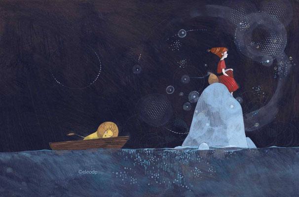 """Illustration d'une petite pirate et d'un lion dans la """"série noire"""" par l'illustratrice Eleonora De Pieri"""