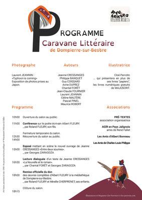 Programme d'un Salon du livre réalisé pour la médiathèque de Dompierre-sur-Besbre et l'association Pré-Texte en 2016 _ Technique : vectoriels sous Illustrator