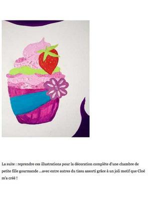 Détail du cupcake fraise illustré en exclusivité par Cloé Perrotin reprit en peinture par Peggy Jeannot