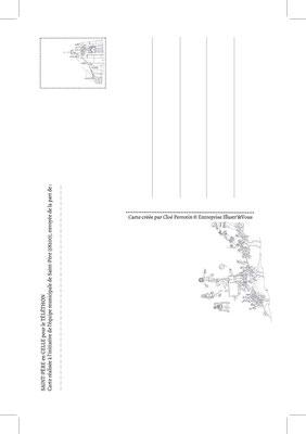 Carte postale pour Le téléthon de Saint-Père en Celle 2016 _ Technique: illustration à la main, mise en couleurs Photoshop _ Impression: Copie&Création sur papier 300g/m², Verso Noir&Blanc