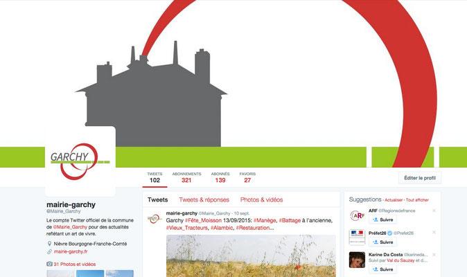 Profil Twitter et community managment réalisés par Cloé Perrotin pour la mairie et commune de Garchy - 58150