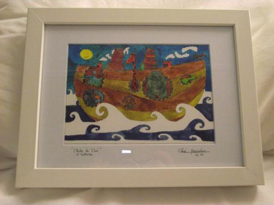 Illustration à l'aquarelle réalisée par Cloé Perrotin sur le thème de l'arche de Noé personnalisée