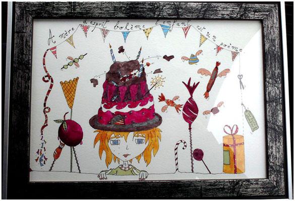 Illustration personnalisée pour un anniversaire réalisée par Cloé Perrotin - à l'aquarelle