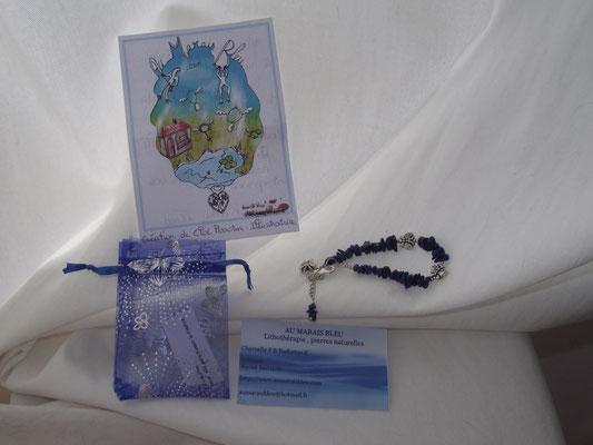 Bracelet de la e-boutique Au Marais Bleu et carte d'informations aux clients illustrée par Cloé Perrotin