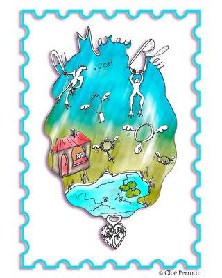 Illustration de Cloé Perrotin pour la e-boutique et les créateurs-bijoutiers de la marque Au Marais Bleu