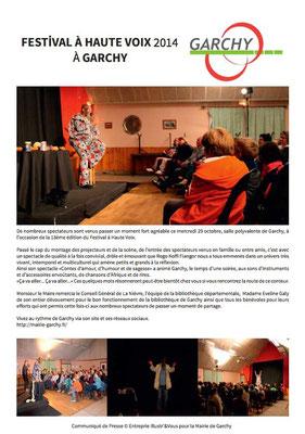 Revue de presse donnée aux journalistes pour la Mairie et Commune de Garchy pour le Festival à Haute Voix 2014