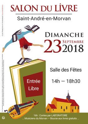 Affiche en vectoriel par Cloé Perrotin pour le Salon du Livre de Saint-André-en-Morvan 2018 cirque et livres