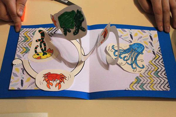 Exemple 3 de carte pop-up spirale réalisée à l'atelier de l'illustratrice Cloé Perrotin lors d'un Salon du Livre en 2018