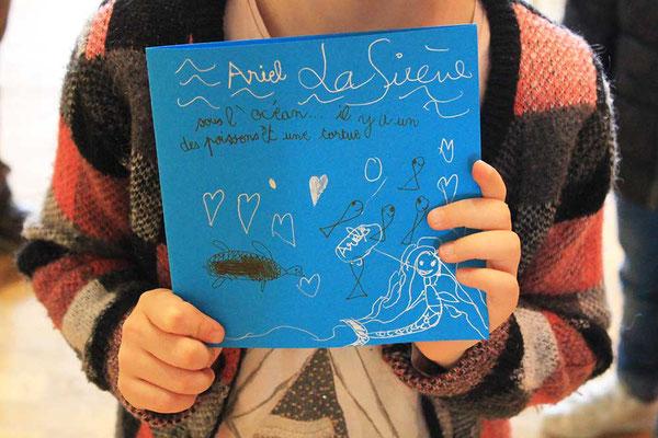 Exemple de personnalisation 1 de carte Pop-Up spirale réalisée par un enfant avec l'illustratrice Cloé Perrotin en atelier en 2018