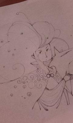 WIP d'un crayonné d'une fillette sauvage et d'un loup par l'illustratrice Eleonora De Pieri