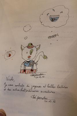Dédicace du livre Le chat qui veut devenir un petit garçon par l'illustratrice Cloé Perrotin à la Caravane Littéraire de Dompierre-sur-Besbre