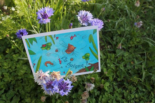 """Carte postale """"Ça baigne ?"""", projet collectif """"Moka la loutre"""" _ Technique: illustration aquarelle à la main _ Impression: PixartPrinting sur papier 265g/m², recto couleur vernis, verso Noir & blanc"""