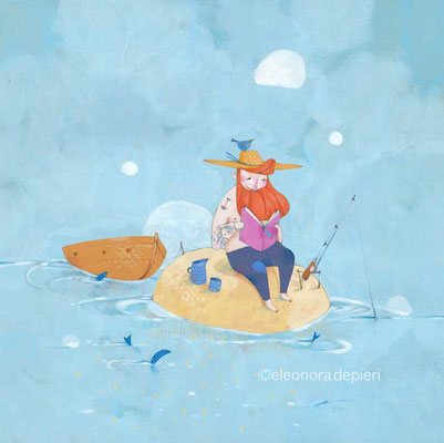 Illustration d'un pêcheur en train de lire par l'illustratrice Eleonora De Pieri