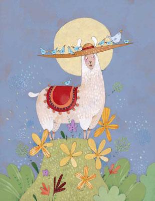 Illustration d'un lama au Pérou par l'illustratrice Eleonora De Pieri