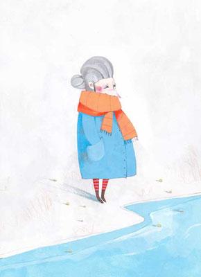 Illustration d'une grand-mère qui regarde l'horizon et qui rêve de liberté par l'illustratrice Eleonora De Pieri