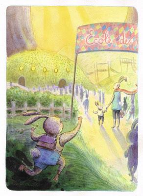 """Proposition de la page 5 par l'illustratrice Célina Guiné pour le projet de livre """"Pissenlit, l'hyper-héros qui se prenait pour un grizzly"""" écrit par Cloé Perrotin"""