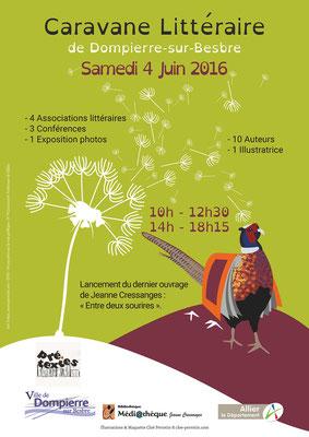 Affiche de la Caravane Littéraire réalisée pour la Médiathèque de la ville de Dompierre-sur-Besbre et l'association Pré-Texte en 2016 _ Technique : vectoriels sous Illustrator