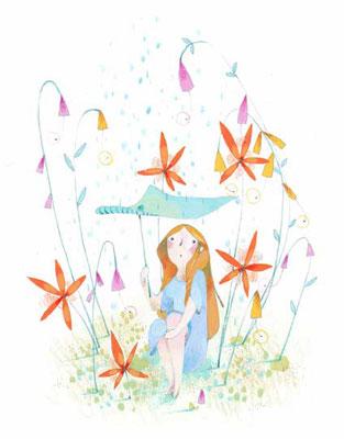 Cabochon sur fond blanc sur le thème de Poucelina par l'illustratrice Eleonora De Pieri