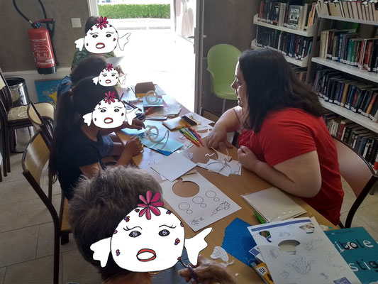 Atelier de Carte Pop-Up spirale à la bibliothèque de Cossaye dans la Nièvre en 2018