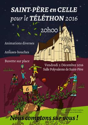 Affiche illustrée réalisée pour Le téléthon de Saint-Père en Celle 2016 _ Technique : illustration d'après les demandes et Photoshop