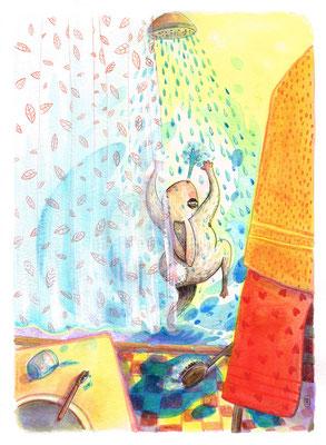"""Proposition de la page 2 par l'illustratrice Célina Guiné pour le projet de livre """"Pissenlit, l'hyper-héros qui se prenait pour un grizzly"""" écrit par Cloé Perrotin"""