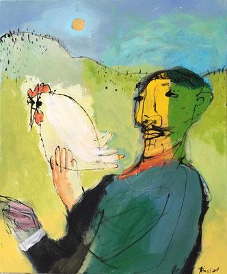 Mann mit Huhn