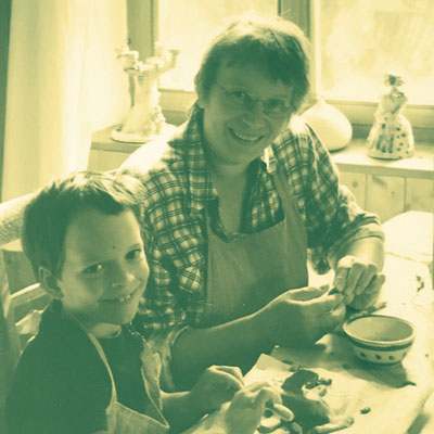 Me and my beloved grandma making extraordinary pottery. Hers was actually extraordinary, mine not so much.