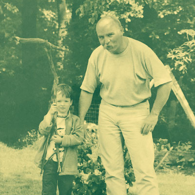 My godfather and I on one of our adventures in the forest behind the house he once lived in.