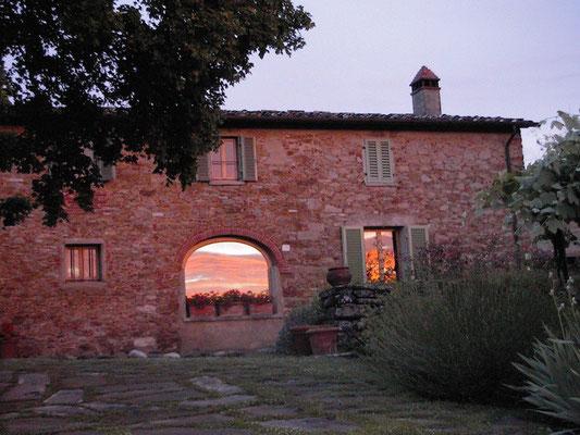 sunset, stonehouse, Villa, Casafredda, Arezzo, Toscana, Tuscany, Italy