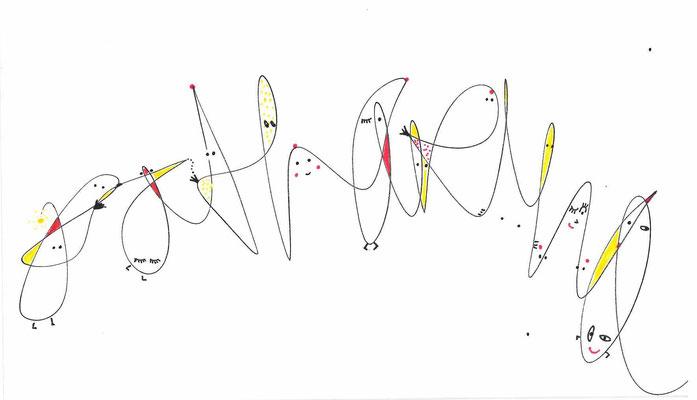 Katharina, 2020, Schriftbild, Fineliner auf Karton