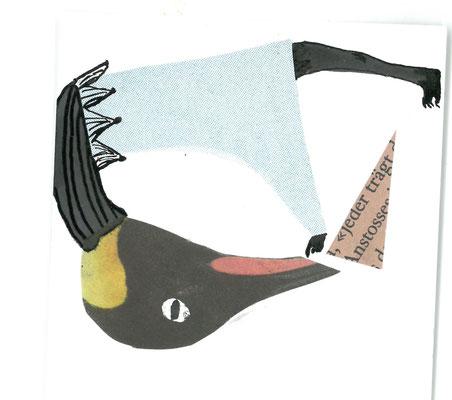 Pinguin mit Papierschnipsel