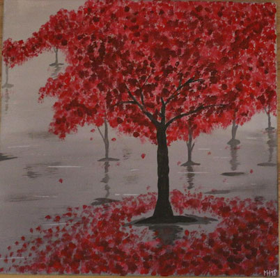 Roter Baum 40 x 40 ❌