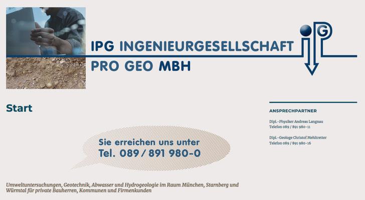Webseite / Ingenieursgesellschaft Pro Geo