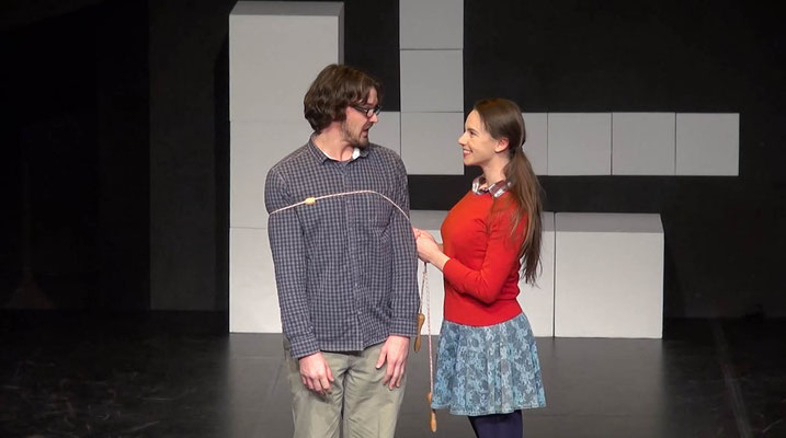 "Doug Andrews as Brian and Victoria Halper as Beth in ""Jerry Finnegan's Sister"" (Directed by: Victoria Halper; Theatermenschen, Tribüne Linz. 2013-14)"