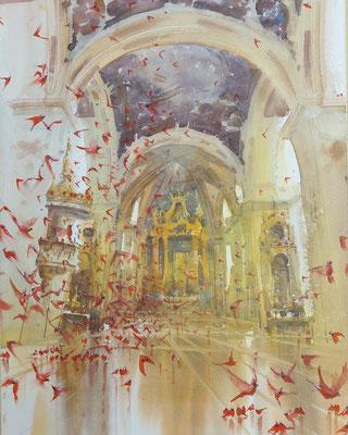 Cardinals, watercolor, 53x35cm