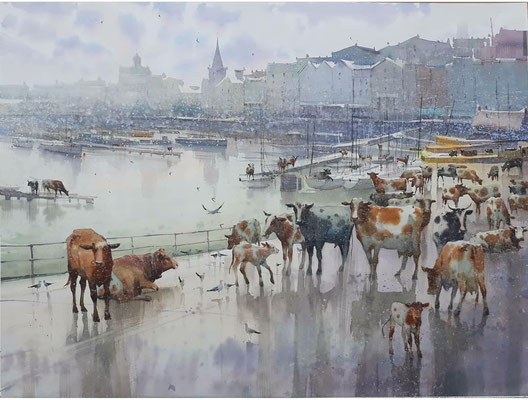 Guests in the Harbour, watercolor, 70x53cm