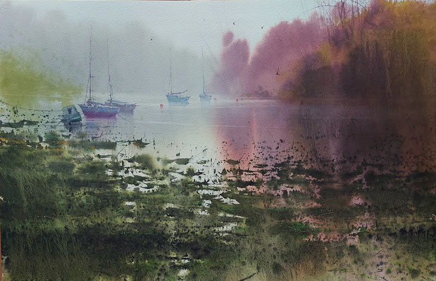 Bretagne fog II, watercolor, 35x53cm
