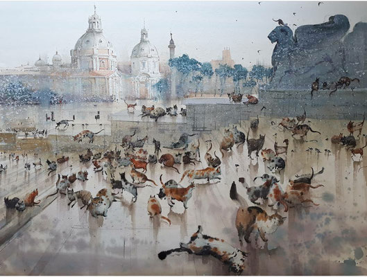 Eternal Rome, watercolor, 76x53cm
