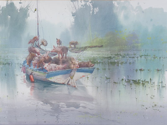 The ship of fools, watercolor, 53x73cm
