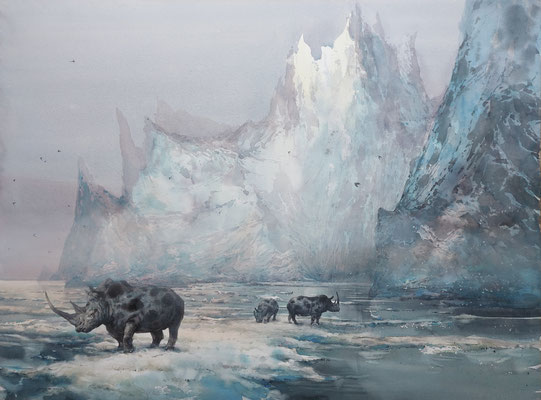Sons of Poseidon, watercolor, 73x53cm