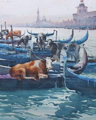 The gondoliers, watercolor, 35x73cm