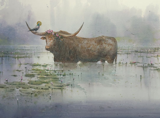 The rape of Europe, watercolor, 53x73cm